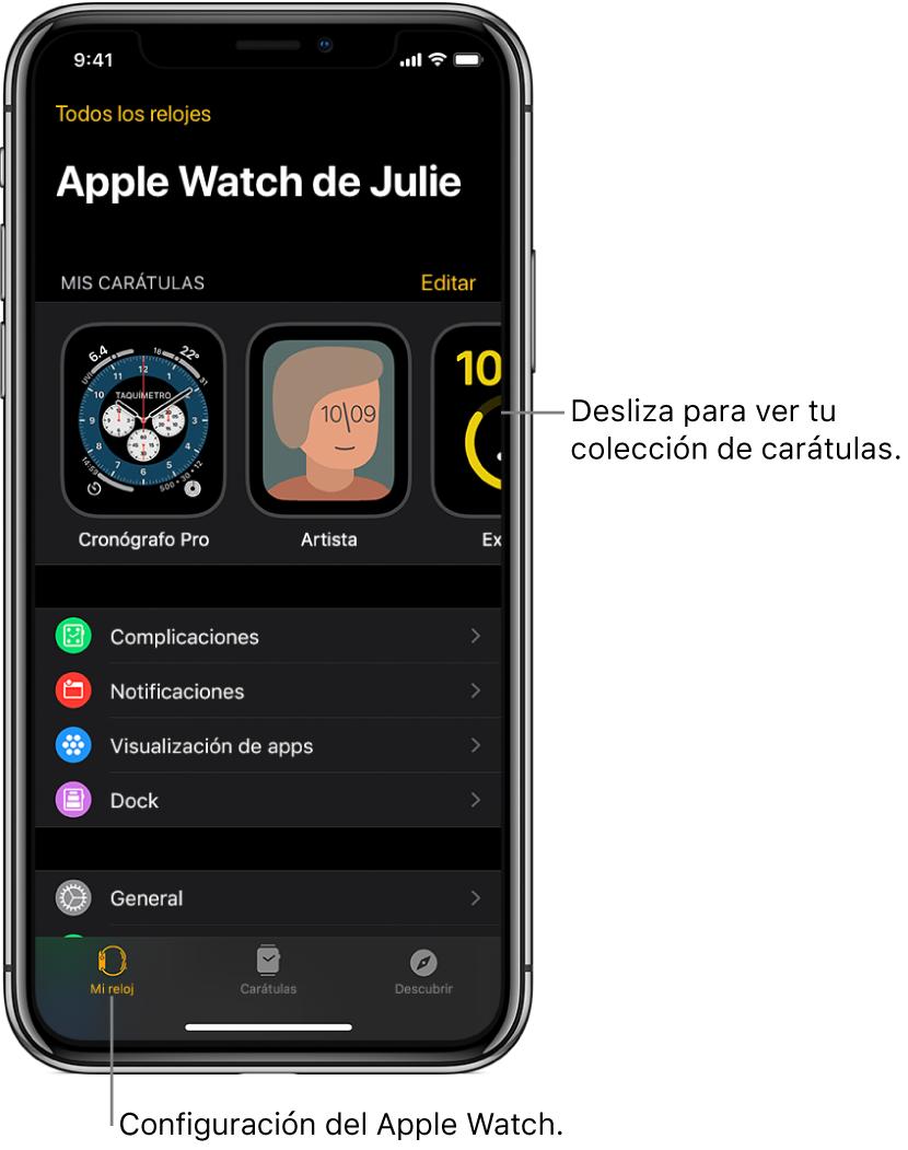 """La app AppleWatch del iPhone abierta en la pantalla """"Mi Reloj"""", que muestra tus carátulas cerca de la parte superior y la configuración abajo. Hay tres pestañas en la parte inferior de la pantalla de la app AppleWatch: la izquierda es """"Mi reloj"""", donde está la configuración del AppleWatch; luego está la """"Galería de carátulas"""", donde puedes explorar las carátulas y complicaciones disponibles; y la última es Descubrir, donde puedes obtener más información sobre el AppleWatch."""