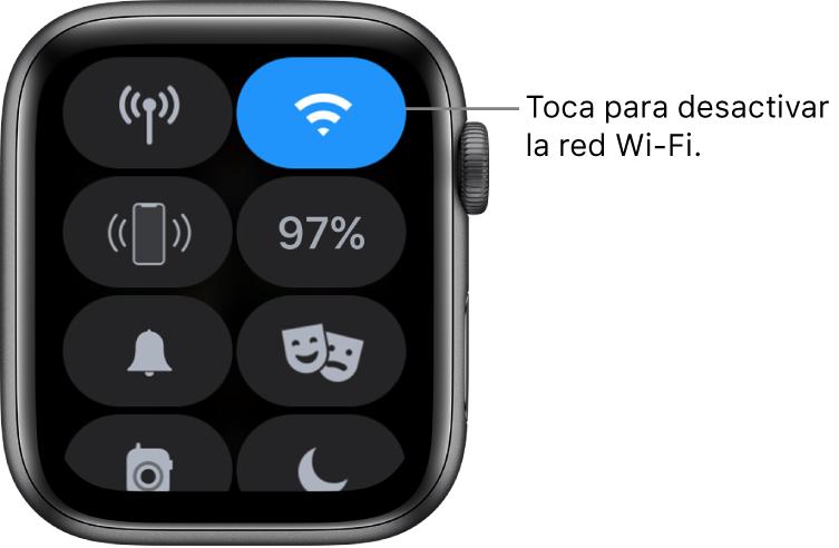 """Centro de control del AppleWatch (GPS + Cellular) con el botón de Wi-Fi en la parte superior. El texto dice """"Toca para desactivar la red Wi-Fi""""."""