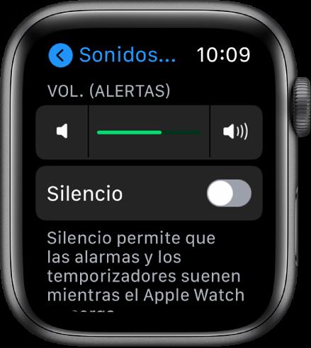 """Configuración """"Sonidos y vibración"""" en el AppleWatch, con el regulador """"Volumen de alerta"""" en la parte superior y el botón del modo Silencio debajo de él."""