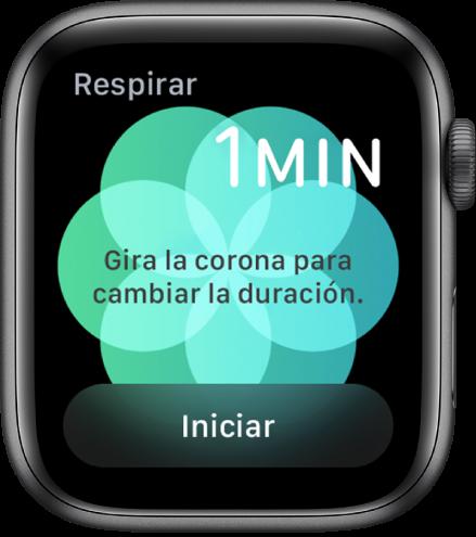 La pantalla de la app Respirar mostrando una duración de un minuto en la esquina superior derecha y el botón de inicio en la parte inferior.