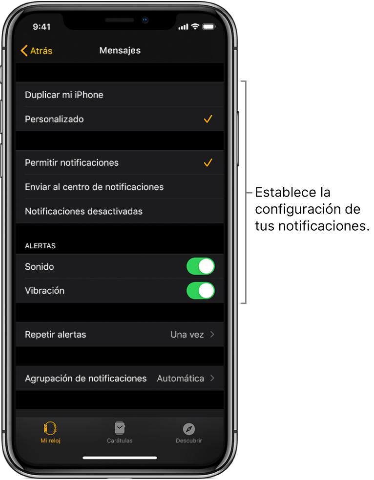 Configuración de Mensajes en la app AppleWatch en el iPhone. Puedes elegir si quieres mostrar alertas, activar el sonido, activar la vibración y repetir alertas.