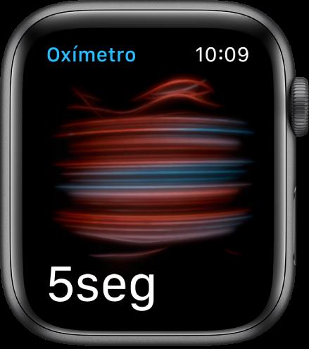 La pantalla Oxígeno en Sangre tomando una medida; contando de 5 a 0.