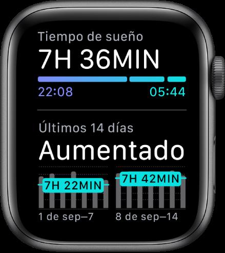 La app Sueño en el Apple Watch mostrando el tiempo que pasaste dormido en la parte superior y tus tendencias de sueño de los últimos 14 días.