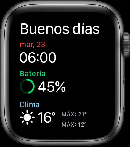 Apple Watch mostrando la pantalla del despertador. Las palabras Buenos días se muestran en la parte superior. Debajo se muestran la hora, fecha, porcentaje de batería y el clima.