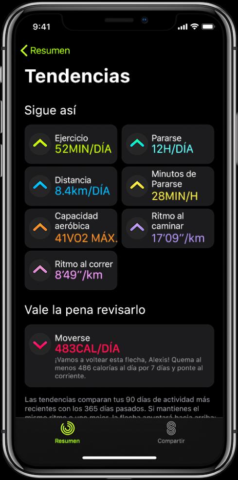 """La pestaña Tendencias de la appFitness en el iPhone. Se muestran varias métricas debajo del encabezado Tendencias cerca de la parte superior de la pantalla. Las métricas incluyen Ejercicio, Pararse, Distancia y más. Debajo de la sección """"Vale la pena revisarlo"""" se muestra la tendencia Moverse."""