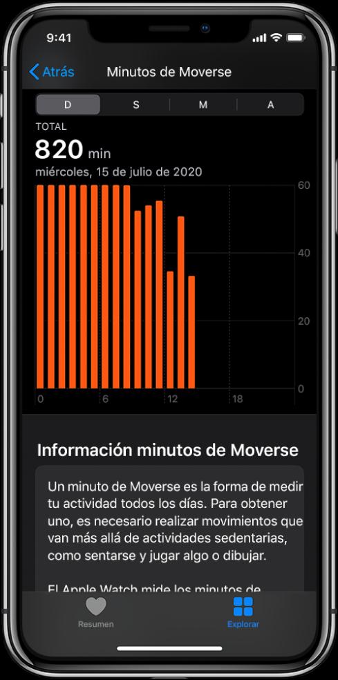 El iPhone mostrando un reporte de minutos de Moverse. Las pestañas Resumen y Explorar se encuentran en la parte inferior; y la pestaña Explorar está seleccionada.