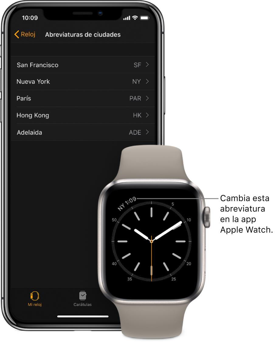 """Un iPhone y un AppleWatch lado a lado. La pantalla del AppleWatch muestra la hora de la ciudad de Nueva York, usando la abreviatura NYC. La pantalla del iPhone muestra la lista de ciudades en la configuración """"Abreviaturas de ciudades"""", en la configuración Reloj en la app AppleWatch en iPhone."""