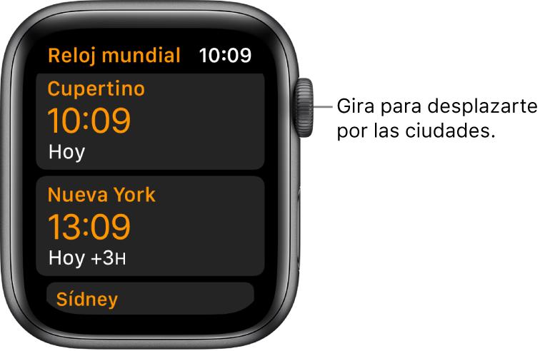 La app Reloj Mundial con una lista de ciudades y la barra de desplazamiento.