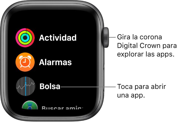 Pantalla de inicio con la visualización como lista en el AppleWatch, con apps en una lista. Toca una app para abrirla. Desplázate para ver más apps.