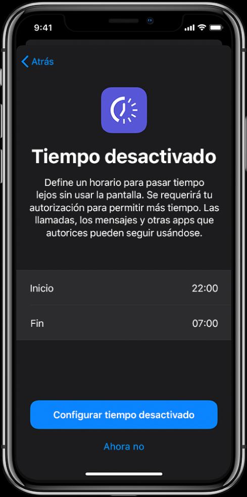 """El iPhone está mostrando la pantalla de configuración de """"Tiempo desactivado"""". Elige una hora de inicio y una de fin en el centro de la pantalla. Los botones """"Configurar tiempo desactivado"""" y """"No ahora"""" están en la parte inferior de la pantalla."""