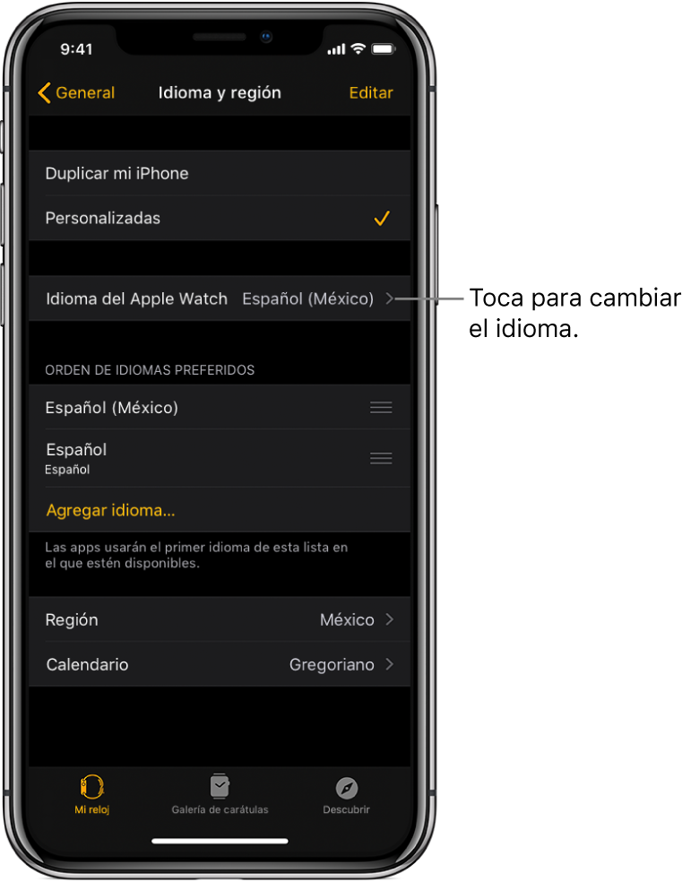 "La pantalla ""Idioma y región"" en la app Apple Watch con la configuración Idioma del Apple Watch en la parte superior."