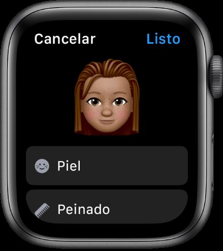 """La app Memoji en el Apple Watch mostrando una cara cerca de la parte superior y las opciones """"Tono de piel"""" y """"Peinado""""."""