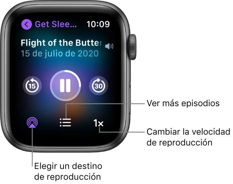 """Una pantalla """"Ahora suena"""" de Podcasts, con el título del programa, el título del episodio, la fecha, el botón de retroceder 15segundos, el botón de pausa, el botón de avanzar 30segundos, el botón de AirPlay, el botón de episodios y el botón de velocidad de reproducción."""