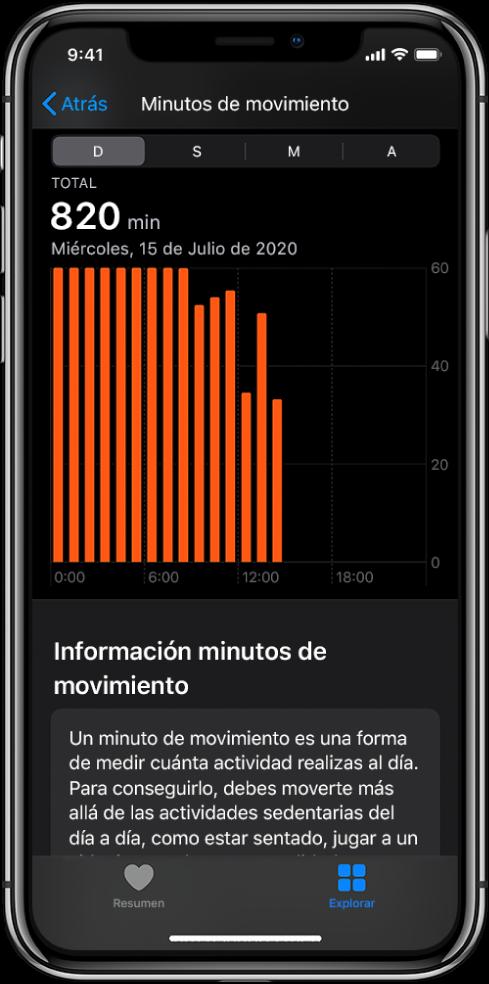 iPhone con el informe de minutos de movimiento. Las pestañas Resumen y Explorar se encuentran en la parte inferior de la pantalla, con el botón Explorar seleccionado.