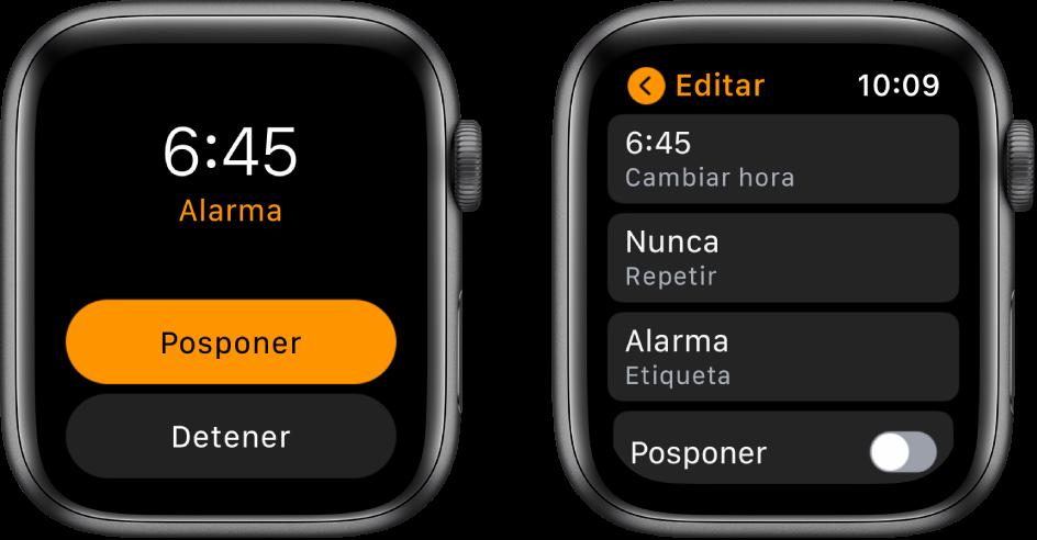"""Dos pantallas del reloj: En una se muestran los botones Posponer y Detener, y en la otra se muestran los ajustes """"Editar alarma"""", con los botones """"Cambiar hora"""", Repetir y Alarma debajo. Abajo se muestra el interruptor Posponer. El interruptor Posponer está desactivado."""