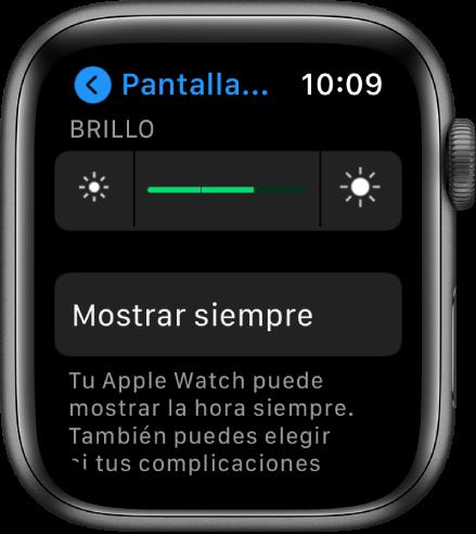 """La pantalla de """"Pantalla y brillo"""" con el selector de brillo y el botón """"Siempre activa""""."""