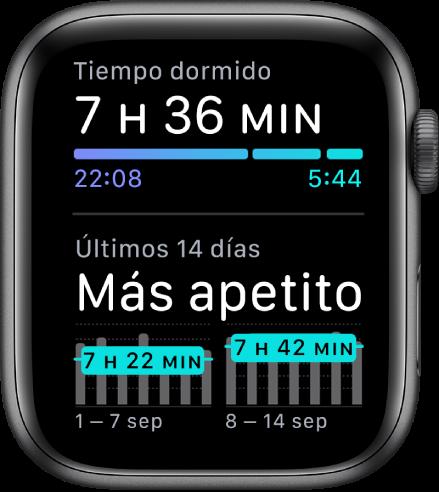 La pantalla de Sueño con las horas que has dormido y las tendencias de sueño de los últimos 14días.