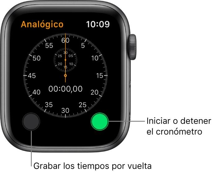 Pantalla del cronómetro analógico. Pulsa el botón derecho para iniciarlo o detenerlo, y el izquierdo para grabar los tiempos por vuelta.
