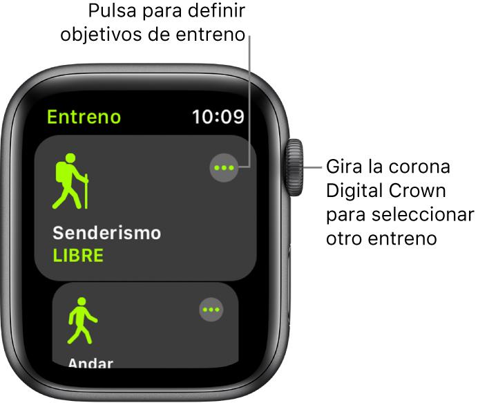 La pantalla Entreno, con el entreno Senderismo resaltado. Arriba a la derecha se muestra un botón Más. Debajo se muestra una parte del entreno Andar.