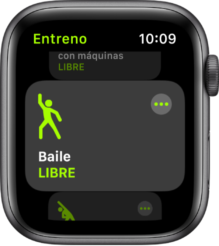 La pantalla de Entreno, con Baile resaltado.