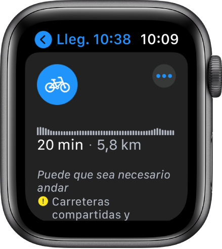 El AppleWatch, con indicaciones en bici. Incluyen un resumen de los cambios de desnivel a lo largo de la ruta, el tiempo estimado y la distancia, y notas sobre incidencias que te puedas encontrar por el camino.