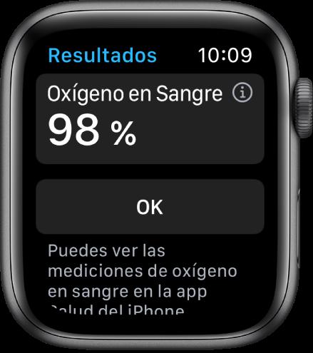 La pantalla de los resultados de Oxígeno en Sangre con un nivel de saturación de oxígeno en sangre del 98por ciento. Abajo se muestra el botón OK.