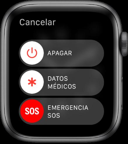 """Pantalla del AppleWatch con tres reguladores: Apagar, """"Datos médicos"""" y """"Emergencia SOS"""". Arrastra el regulador Apagar para apagar el AppleWatch."""