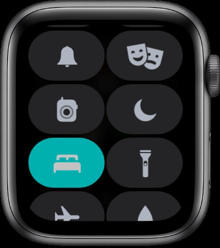 """Centro de control, con el botón """"modo Sueño"""" al final de la pantalla a la izquierda."""