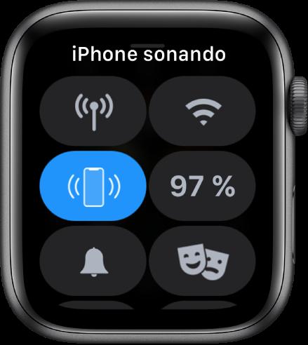 """Centro de control, con el botón """"Oír el iPhone"""" en la parte central izquierda."""
