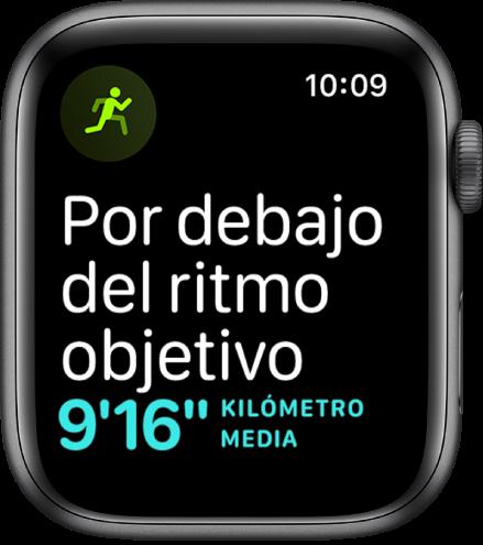 Pantalla de la app Entreno que le dice al usuario que está corriendo por debajo de su ritmo objetivo.