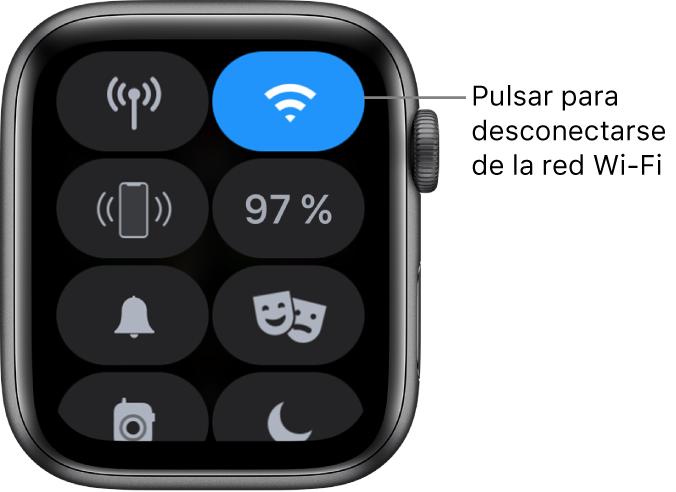 """Centro de control en el AppleWatch (GPS + Cellular), con el botón Wi-Fi en la parte superior derecha. El texto indica """"Desconectar de Wi-Fi""""."""