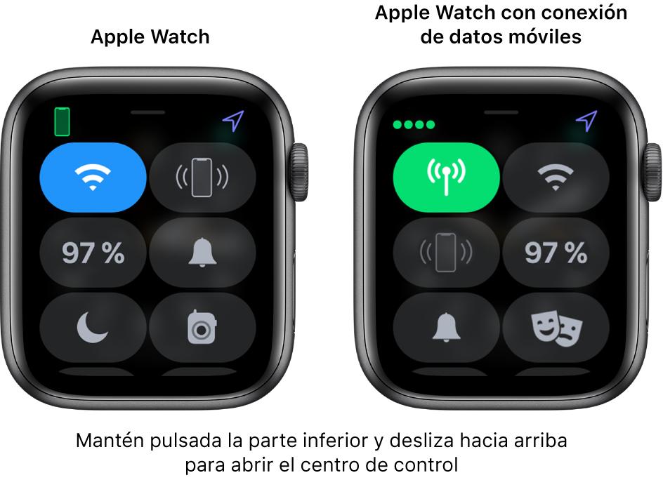 """Dos imágenes: AppleWatch sin datos móviles a la izquierda, con el centro de control. El botón Wi-Fi está en la parte superior izquierda; el botón """"Oír el iPhone"""", en la parte superior derecha; el botón del porcentaje de batería, en la parte central izquierda; el botón del modo silencioso, en la parte central derecha; el botón """"No molestar"""", en la parte inferior izquierda; y el botón Walkie-talkie, en la parte inferior derecha. La imagen de la derecha muestra el AppleWatch con datos móviles. Su centro de control muestra el botón """"Datos móviles"""" en la parte superior izquierda, el botón Wi-Fi en la parte superior derecha, el botón """"Oír el iPhone"""" en la parte central izquierda, el botón del porcentaje de batería en la parte central derecha, el botón del modo silencios en la parte inferior izquierda y el botón """"No molestar"""" en la parte inferior derecha."""