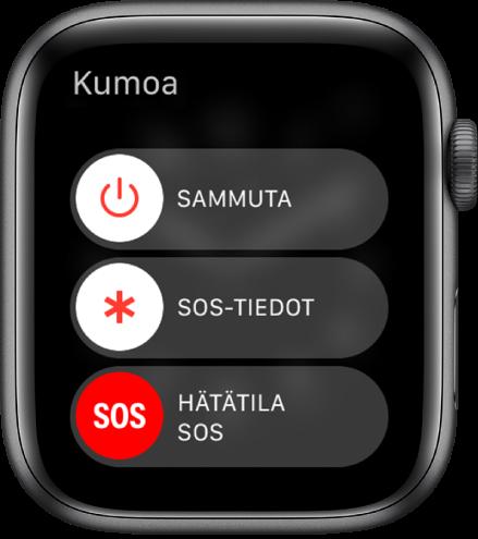 AppleWatchin näyttö, jossa on kolme liukusäädintä: Virta pois päältä, SOS-tiedot ja Hätätilanne SOS. Laita AppleWatch pois päältä vetämällä Virta pois ‑liukusäädintä.