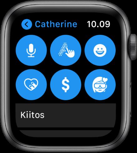 Viestit-näyttö, jossa näkyy Apple Pay -painike sekä Sanele-, Kirjoita-, Emoji-, Digital Touch- ja Memoji-painikkeet.