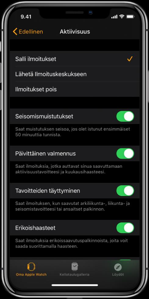 AppleWatch ‑apin Aktiivisuus-näyttö, jossa voit muokata haluamiasi ilmoituksia.
