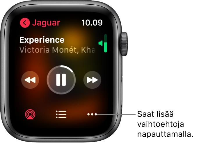 Toistossa nyt -näyttö Musiikki-apissa. Albumin nimi on ylävasemmalla. Kappaleen nimi ja artisti näkyvät ylhäällä, toistosäätimet keskellä ja alhaalla on AirPlay-, kappalelista- ja Valinnat-painikkeet.