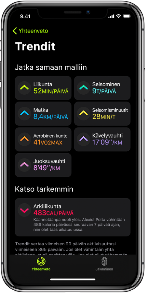 Trendit-välilehti iPhonen Kuntoilu-apissa. Useita mitattavia kohteita näkyy Trendit-otsikon alla lähellä näytön yläreunaa. Mitattavia kohteita ovat muun muassa Liikunta, Seisominen ja Matka. Arkiliikunta on Katsomisen arvoista -otsikon alla.