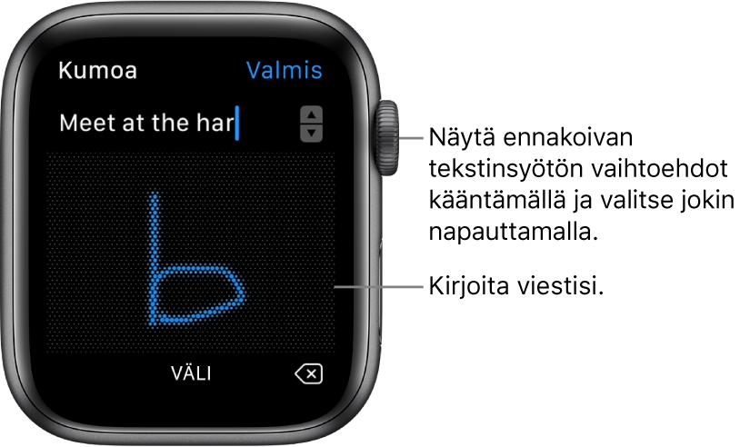 Näyttö, jolla kirjoitat vastauksen viestiin. Ennakoivat tekstivalinnat näkyvät ylhäällä, voit kirjoittaa viestisi keskelle.