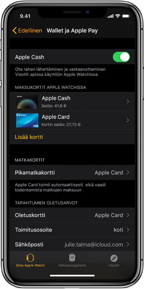 Wallet ja ApplePay -näyttö iPhonen AppleWatch ‑apissa. Näytöllä näkyy AppleWatchiin lisättyjä kortteja, kortti, jonka olet valinnut käytettäväksi Express-korttina, ja maksun oletusasetukset.