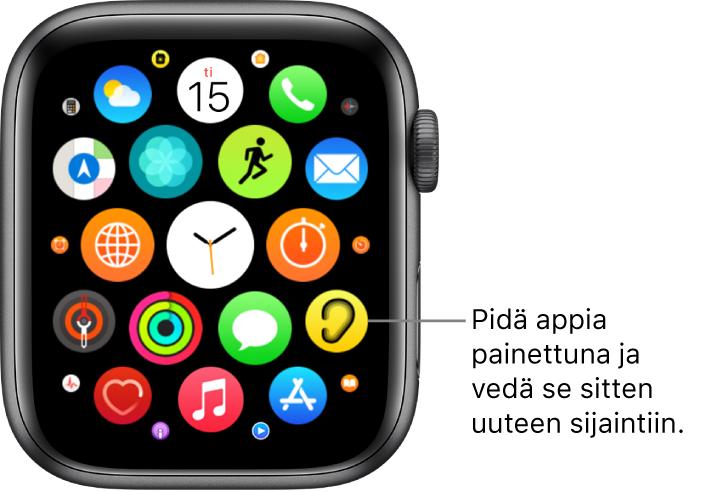 Apple Watchin Koti-valikko ruudukkonäkymässä.