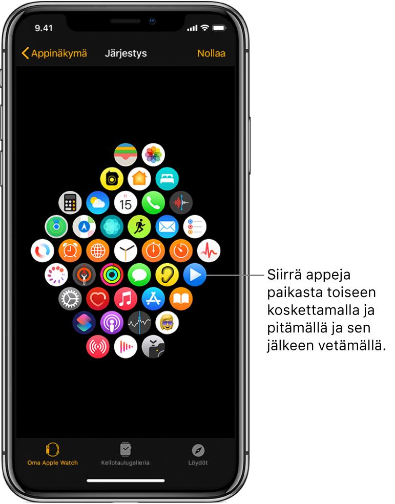 AppleWatch -apissa oleva Järjestys-näyttö, jossa näkyvät kuvakkeet ruudukossa.