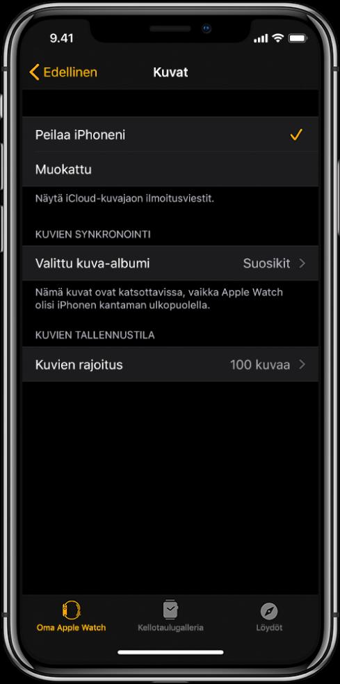 Kuva-asetukset iPhonen AppleWatch ‑apissa, Kuvien synkronointi ‑asetus keskellä ja Kuvien rajoitus ‑asetus sen alapuolella.