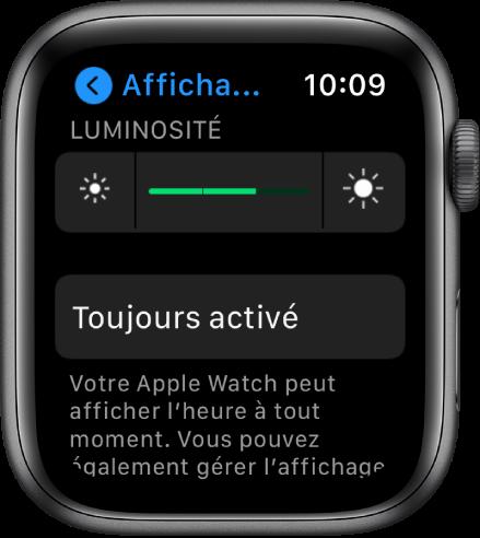 Les réglages de luminosité de l'AppleWatch avec le curseur Luminosité dans le haut et le bouton Toujours activé en dessous.
