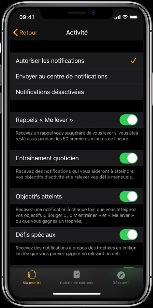 L'écran Activité de l'app Watch à partir duquel vous pouvez personnaliser les notifications que vous souhaitez recevoir.