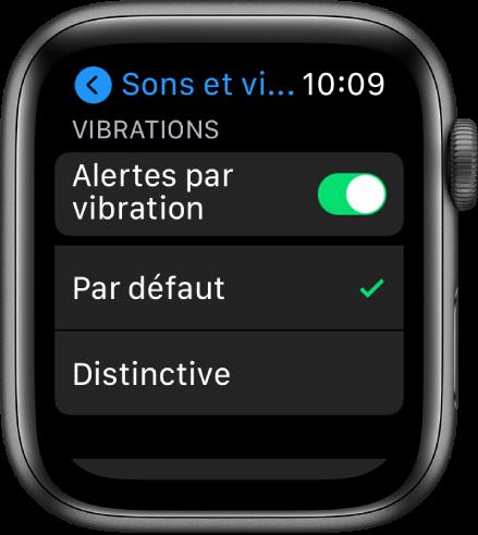 RéglagesSonsetvibrations sur l'AppleWatch avec les optionsPardéfaut et Distinctive sous le commutateurAlertesparvibration.