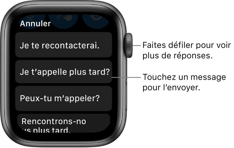 L'écran de Mail qui affiche le bouton Annuler en haut et trois réponses prédéfinies («Je vous recontacterai.», «Puis-je vous appeler plus tard?» et «Pouvez-vous m'appeler?»).