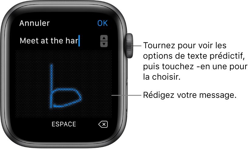 Écran sur lequel griffonner une réponse. Les options de texte prédictif s'affichent en haut, alors que le message s'affiche au centre de l'écran.