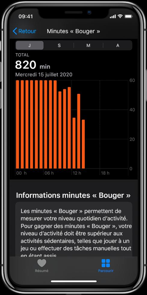 L'iPhone qui affiche un rapport de minutes «Bouger». Les onglets Résumé et Parcourir se trouvent dans le bas et l'onglet Parcourir est sélectionné.