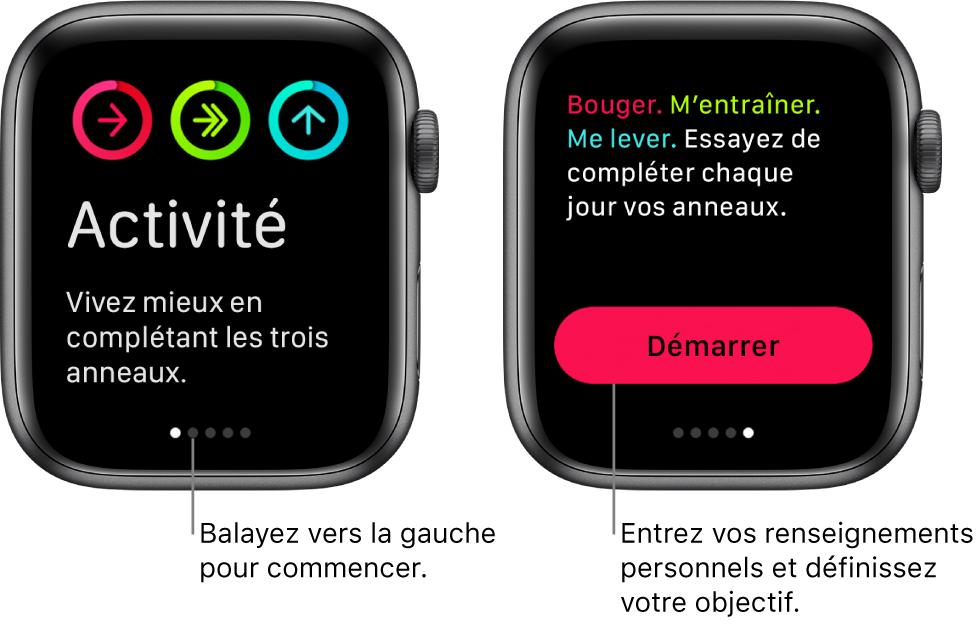 Deux écrans: l'un affiche l'écran d'accueil de l'app Activité, l'autre affiche le bouton Démarrer.