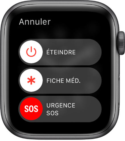 L'AppleWatch qui affiche trois curseurs: Éteindre, Fiche méd. et Urgence SOS. Faites glisser le curseur Éteindre pour éteindre l'AppleWatch.
